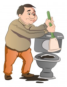Man Cleaning a Toilet, illustration