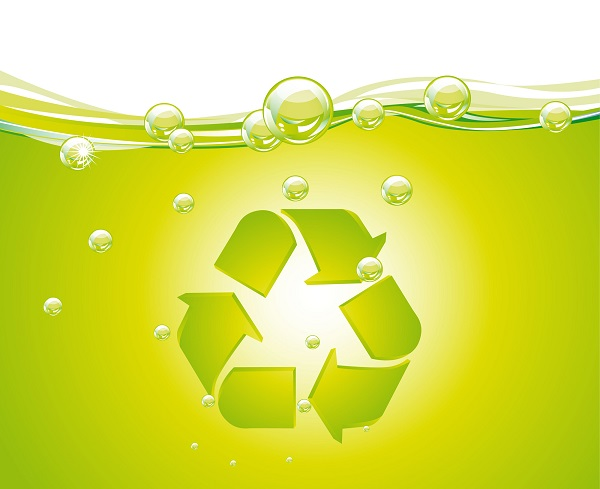 recycle sign over green water with bubbles background vector